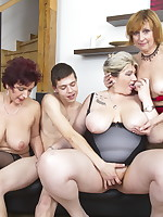 Three naughty housewives share one lucky guy